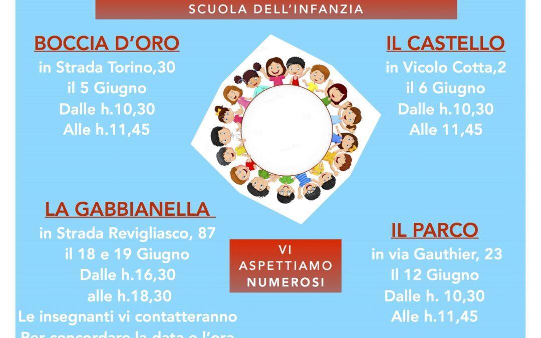 festa dell'accoglienza dei nuovi iscritti e riunioni con i genitori nelle scuole dell'infanzia